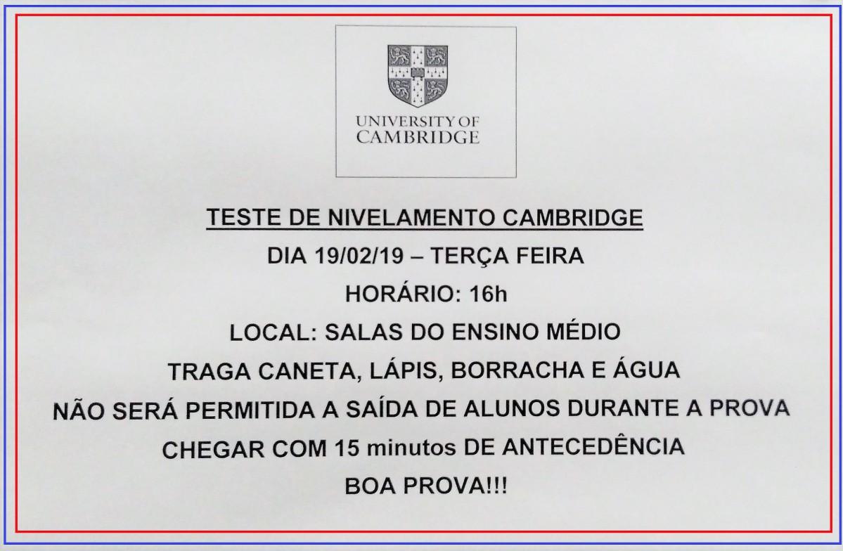 TESTE DE NIVELAMENTO CAMBRIDGE